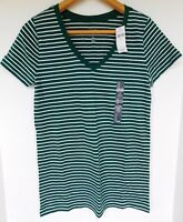 NWT GAP Women's Favorite V-Neck T-Shirt Green/White Striped XS S L NEW Free Ship