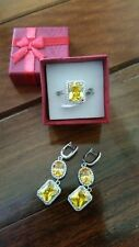 BNIB Ladies Citrine and White Sapphire Cocktail Ring with FREE GIFT