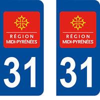 Département 31 sticker 2 autocollants style immatriculation AUTO PLAQUE
