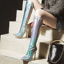 Women Sexy Shiny Pointed Toe Over the Knee Boots High Heel Zipper Stilettos Shoe