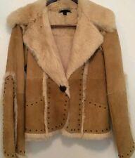 Sheri Bodell women size L beige leather and rabbit fur jacket. ( INV. K)