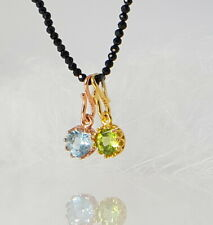 Spinel Necklace with Pendant Peridot Or Blue Topaz Sky Blue IN Socket
