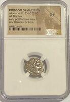 Kingdom of Macedon Alexander the Great 336-323 BC Silver Drachm NGC XF