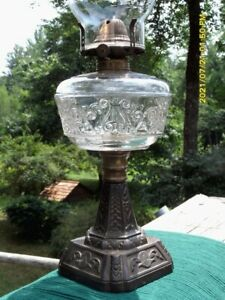 """Antique """"Lyre & Scroll"""" iron stem oil/kerosene lamp w/chimney--Thuro Bk.II,Pg.87"""