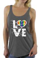Women's Love Racerback Tank Tops Rainbow Heart Gay & Lesbian Love