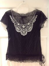 BLACK SHEER STRETCH FLORAL LACE TOP Small