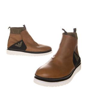 RRP €305 EMPORIO ARMANI Leather Sneakers EU42 UK8 US9 Grainy Elasticated Insert