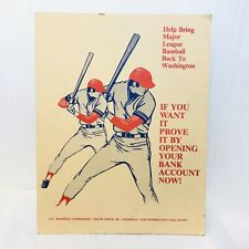Rare VTG 1980s Sign MLB Bring Baseball Back to Washington Senators Nationals