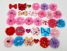 100x Wholesale Dog Collar Charms Flower Bow For Puppy Valentine's Day Grooming