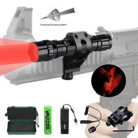 300 Yard Zoom Rot LED Taschenlampe Predator Varmint Hog Licht Offset Berg Akku