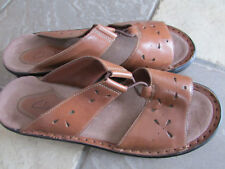 CLARKS BROWN LEATHER SANDALS WOMENS 9 SLIDE SANDALS FREE SHIP