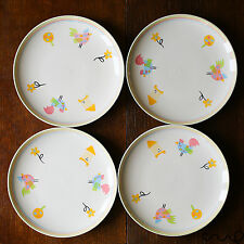 "NEW Hand Painted Set of 4 Dinning Plates 23cm 9"" Farm Animals Ceramic"