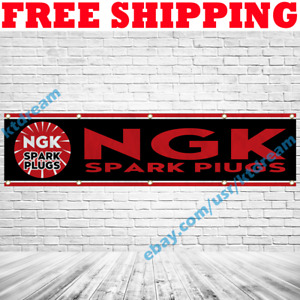 NGK Spark Plugs Banner Flag 2x8 ft Car Show Store Garage Wall Sign Decor 2019