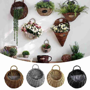 Wall Fence Hanging Planter Plant Flower Pot Handmade Rattan Basket Garden Decor