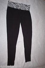 Womens Leggings BLACK YOGA STRETCH PANTS Taper Leg ZEBRA PRINT Fold Top L 12-14