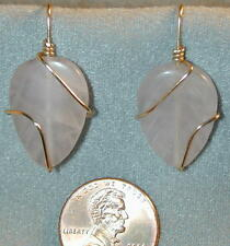 "Rose Quartz Leaf Carved Earrings 14k GF Wire Wrapped 1.25"" drop French Hook"