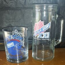1987 SUPER BOWL XXI NY GIANTS glass and large mug set GREAT CONDITION!!!