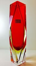 "Stunning 10"" Murano Art Glass Faceted Prism Mandruzzato Sommerso Vase ~Signed"
