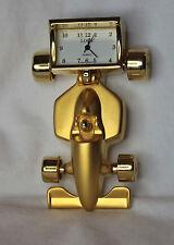 Miniature Clock RACING CAR Gold  Toned Metalic New Battery Mini