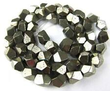 """7-8mm Natural Pyrite Faceted Angle Freedom Gemstone Beads 15.5"""""""