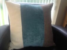"""Next Day 4 X 18"""" TRENDY BROWN CHENILLE/ TEAL BLUE/CREAM CHENILLE CUSHION COVERS"""