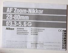 Nikon AF Nikkor 28-80mm 1:3.3-5.6 G Instruction Manual Multilingual - USED B38