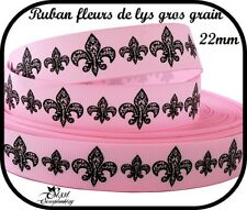 1M RUBAN GALON GROS GRAIN ROSE NOIR FLEUR DE LYS SCRAPBOOKING COUTURE SCRAP 22mm