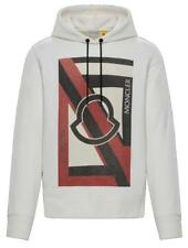 NEW 5 MONCLER CURRENT IVORY COTTON OVERSIZED LOGO HOODIE SWEATSHIRT S/SMALL