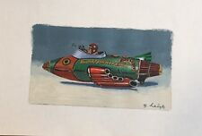 VINTAGE PAINTING ILLUSTRATION  Buck Rogers'space Toy Stephen Heigh