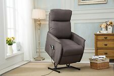 Grey Classic Plush Power Lift and Recliner Linen Fabric Living Room Chair
