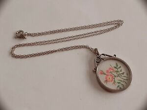 VINTAGE STERLING SILVER NECKLACE WITH HAND EMBROIDERED SILVER FRAMED PENDANT