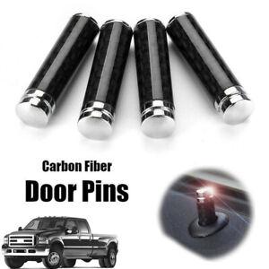 4x Real Carbon Fiber Auto Car SUV Interior Door Lock Knob Pins Handles Universal