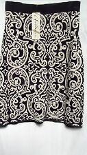 Autograph Monotone Black taupe Print Jacquard Knit SKIRT size 26 Stretchy NEW