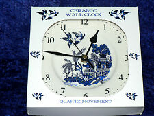 BLUE Willow Pattern Ceramica Orologio da Parete. PORCELLANA Orologio da Parete. BLUE Willow