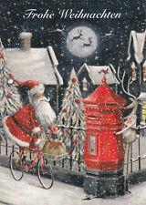 Postkarte: Frohe Weihnachten / Weihnachtsmann auf Fahrrad