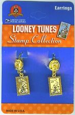 Looney Tunes USPS Stamp Collection,Tazmanian Devil Pierced Earrings, USA. NEW