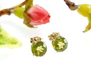 Round 10 CT Yellow Gold Peridot Stud Earrings - 6 mm