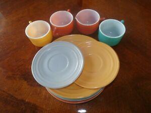 Vintage Antique Milk Glass Child's Teaset Tea Set Multicolor Plates Creamer Plus