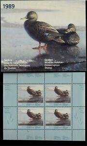 Quebec #2M 1989 Noir Canards Conservation Mini Feuille De 4 IN Dossier