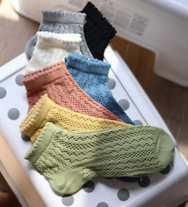 Ladies 50's Retro Style Soft Hollow Pointelle Cotton Ankle Socks Summer