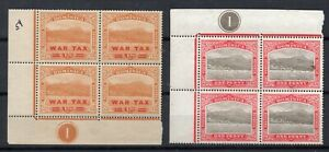 DOMINICA STAMPS BLOCKS OF 4 ONE WITH WAR TAX MINT NEVER HINGED