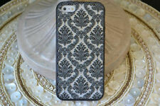 (*)NEW Damask Rubber Hard Case iPhone 4 4S + Screen Protector Front & Back