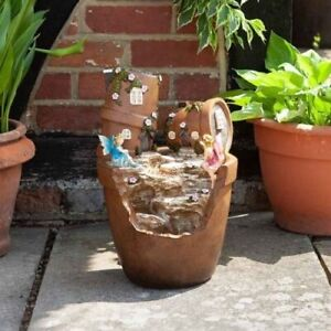 Smart Solar Fairy Pots Garden Water Feature Fountain FAST DELIVERY