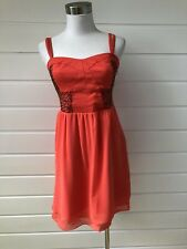 DOTTI Orange Summer Cocktail Party Dress With Bronze Beading On The Bodice - 10