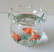 Clay Goldfish Fish Miniature in Clear Jelly Wax Glass Jar Art Handmade Gift