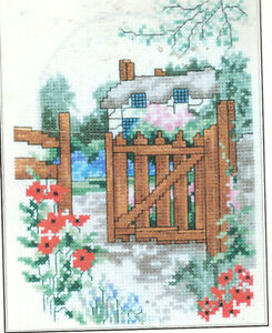 Poppy Cottage 14 Count Counted Cross Stitch Kit Flowers Garden Gate NEW!!