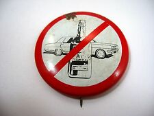 Vintage Pin Button: Don't Drink and Drive Car & Booze Bottle Design (Rust)