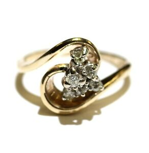14k yellow gold .21ct SI2 H diamond cluster womens ring 4.7g estate size 6