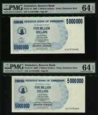 2008 Zimbabwe 5 Million Dollars PMG64 EPQ UNC Consecutive 2 Notes <P-54>PrefixAA