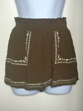 Love Tree Shorts Woman Size Small Sage Green Embroidered Front Bohemian